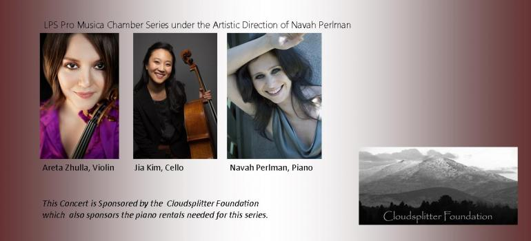 July 26, 2016 LPS Pro Musica chamber concert with Jia Kim, Areta Zhulla and Navah Perlman